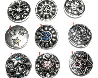 1pc Silver Tone Round Snap Buttons Charms With Rhinestones Knob Size 5~5.5mm (No.22)