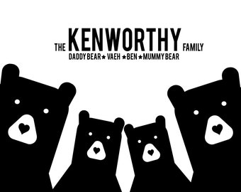 Personalised 'Bear Family Portrait' Print - A4 Print Only