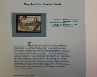 Maryland-Brown Trout Fishing Stamp-MNH- 1989--Free SH
