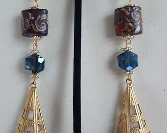Chocolate Brown Mosaic Print Sapphire Blue Chandelier Earrings/Girls Night Out/Birthday Gift/Gift for Yourself