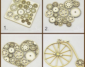 Steampunk chipboards set of 2, retro chipboards , scrapbooking chipboards , gears chipboards , retro bike  , mixed media chpboards