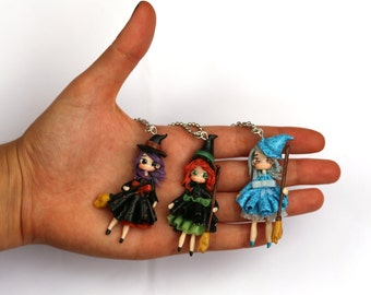 Witch polymer clay necklace chibi kawaii, necklace little witch, ooak witch, halloween clay witch