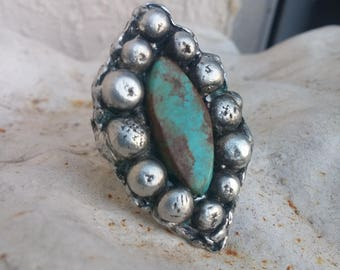 Turquoise Ring Size 6.5~Statement Rings~Native American Jewelry~Navajo Jewelry