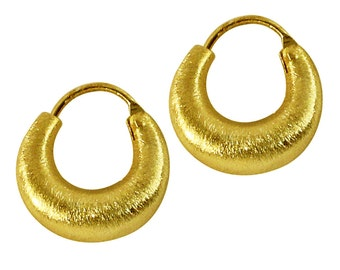 Silver earrings gold half-moon hoops brushed 925 sterling silver sizes 32 mm (REF. No. OSG-03-32)