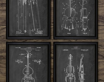 Stringed Instrument Patent Print Set Of 4 - Music Instrument Design - Double Bass - Cello - Violin - Orchestra - #2271 - INSTANT DOWNLOAD