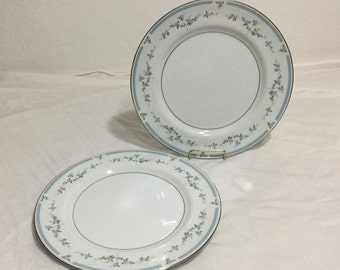MIKASA fine China Dorothy 5756 Set 2 Dinner Plates Blue flowers