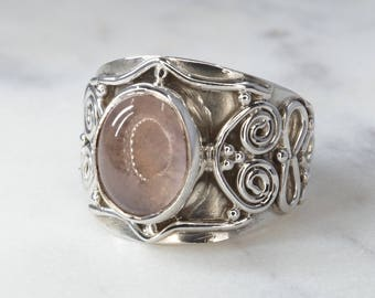 Rose Quartz & 925 Sterling Silver Ring with Wire Work - US Size 6 (L 1/2) #B225
