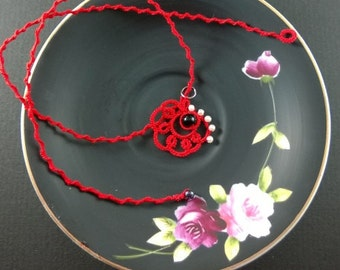 Tatted necklace with beads--Red