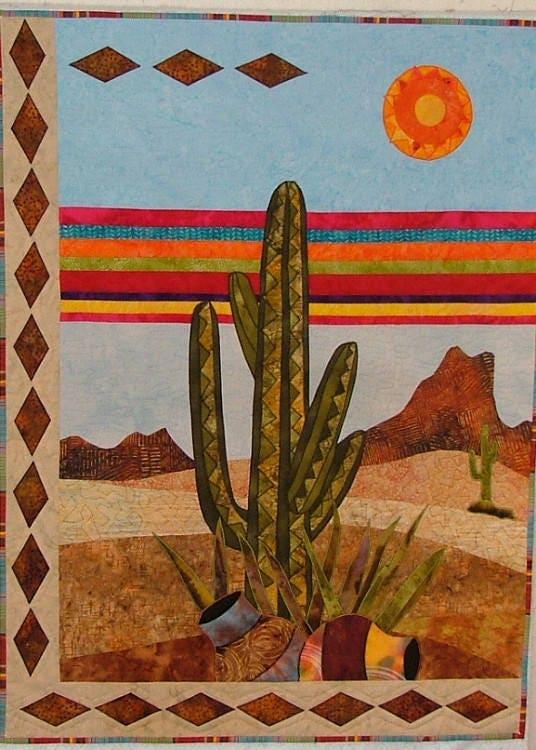 Bj designs patterns cactus mesa applique quilt pattern for Bj custom designs