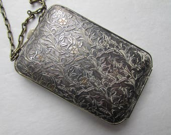 German Silver Compact Embossed Coin Holder Vintage Compact 1920 1930 Compact Flower Embossed Metal Rouge Pot Vintage Accessories