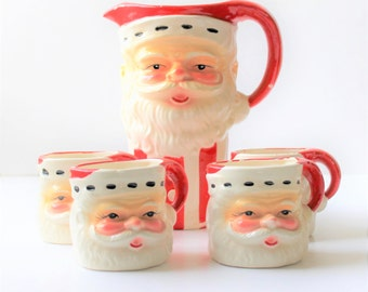 1950s Santa Pitcher and 4 Santa head mugs, Christmas dishware, cottage décor