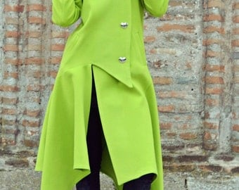 Light Green Asymmetrical Coat / Extravagant Light Green Cashmere Coat / Funky Hooded Coat / Asymmetrical Hooded Coat TC72