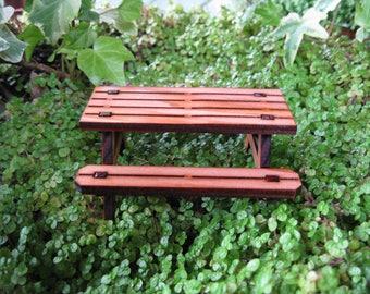 Fairy Garden Redwood Picnic Table miniature fairy house cottage door