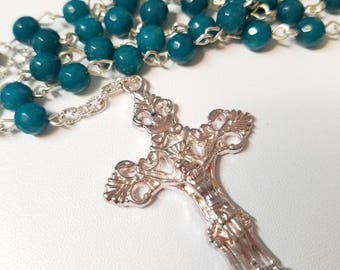 Rich Blue Agate Rosary With Silver-Plated Cross