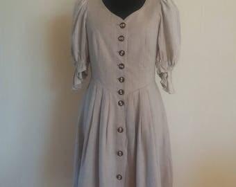 Dirndl German Austrian Traditional Folk Oktoberfest Beige Linen Dress Size XLarge