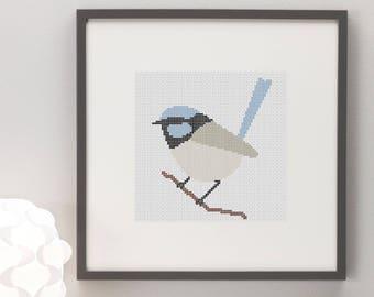 Blue Wren Cross Stitch Pattern, Instant Download, Bird