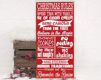 FUNNY CHRISTMAS Rules Sign Family Rules Wood Sign Christmas