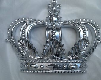 Silver Princess Crown / Crib Canopy Crown with 2 Sheer Panels / Crown Wall decor