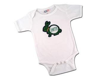 Baby Boy '1st Easter' Plaid Rabbit Bodysuit with Monogram - P10