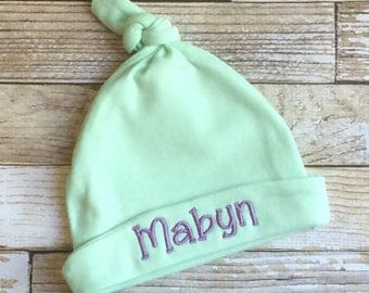 Personalized Baby Hat-Knot Baby Hat-Baby Beanie-Personalized Knot Beanie-Embroidered Baby Hat