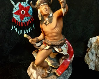 Vintage Navajo Spirit of the Sioux 1987 Franklin Mint Porcelain Native American sculpture figurine sioux indian