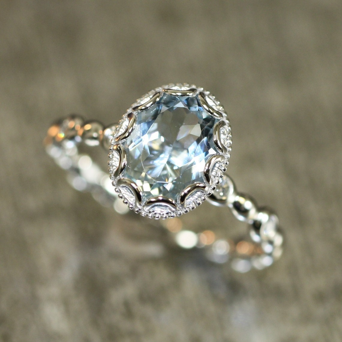 zoom14k White Gold Floral Aquamarine Engagement Ring in Pebble. Etsy Vintage Wedding Rings. Home Design Ideas