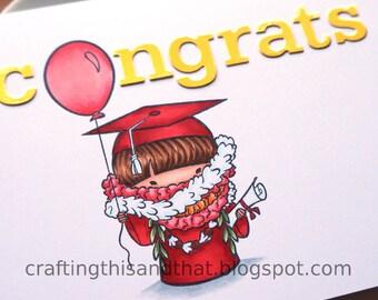 graduation card // congratulations card // school graduation // hawaii graduation card // congrats card // red cap and gown
