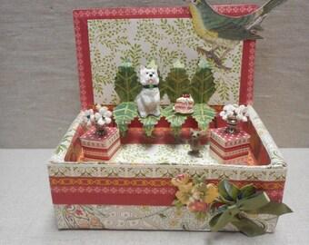 Miniature roombox - Westie in the garden
