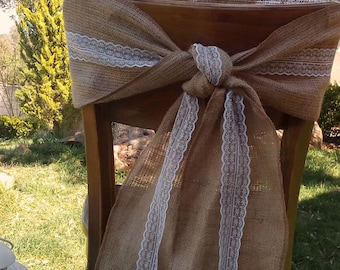 Chair Sash - Burlap Chair Swag - Burlap and Lace Chair Sash -  Burlap Chair Tie - Wedding Chair Sash - Rustic Wedding Chair Sash - Set of 6