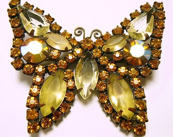 1 Vintage WEISS Butterfly Brooch Topaz Rhinestones Japanned Metal. Mid Century 1950's glamor  (b42017)