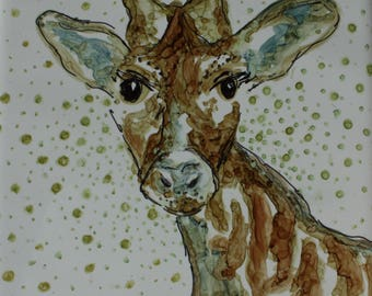 ZURI -  6 x 6 Inch Original Alcohol Ink Painting on Ceramic Tile