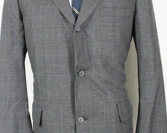 Vintage 41R Brooks Borthers Charcoal Grayy Plaid Wool Sport Coat Blazer Jacket NO6