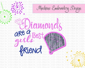 BASEBALL, Diamond are a girls best friend, Applique', embroidery Design, digital embroidery, sports design, sports fan, applique',  #834