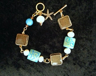 Beach Sand Charm Bracelet with Glass and Freshwater Pearl Beads