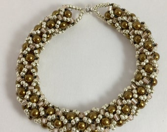 Elegant Bronze Pearl Netted Beaded Bracelet super strong magnetic clasp