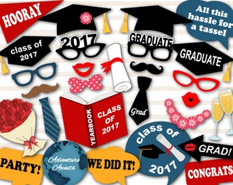 Instant Download Graduation Photo Booth Props, 2017 Graduation Photobooth Props, Graduation Photobooth Printable Graduation Party Props 0167