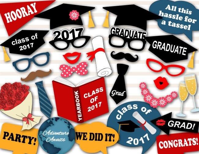 Instant Download Graduation Photo Booth Props 2017 Graduation