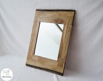 Unique Mirror Walnut Wood Rustic Mirrors Natural Look Rustic Wall Decor