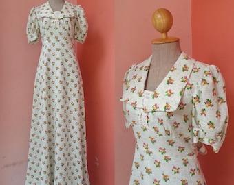 70s Clothing Hippie Dress Boho Dress Summer Dress Day Dress Bohemian Dress Vintage 1970s Floral Print Maxi Dress Short Sleeve Size S Small