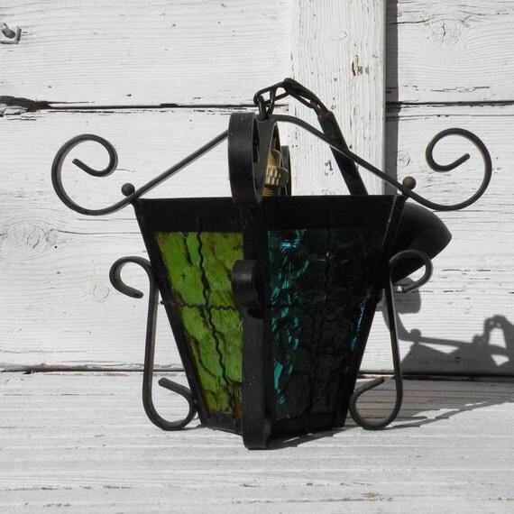 Miniature French vintage hanging lantern, vintage French lantern, colored glass, vintage lantern, hanging lantern, metal lantern, lantern