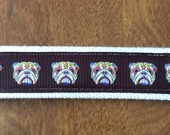 Sugar Skull Bulldog Key Chain Wristlet Zipper Pull