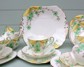 "Vintage Radfords ""Cavendish"" Floral Deco Tea set for 4"