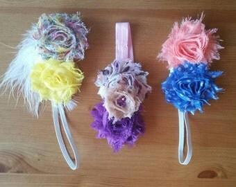 Baby Headbands Set of 3 - Shabby Chic Baby Headbands - Cute Headbands - Head Decorations - Baby Cuteness - Yellow, Pastels, Blue, Peach