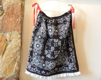 Bandana Dress - Girl's Western Dress - Size 7/8 - Summer Dress - Children's Clothing - Young Lady's Blouse - Western Wear - Black and White