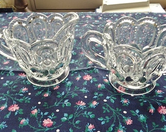L.E Smith Crystal Clear Glass Moon And Stars Sugar Bowl And Creamer - Free Shipping