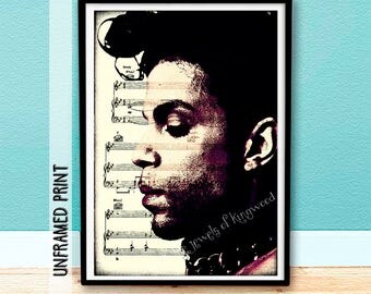 Prince Sheet Music Art - Purple Rain Music Art - Prince Purple Rain - Gifts under 20 - Wall Hanging - Home Decor Wall Art - Media Room Decor