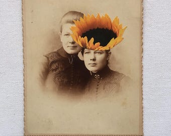 original mixed media, sunflower, sisters, vintage photograph, garden