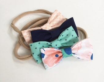 Splendid Green Floral MINI Girls Hair Bows - Set of Four// All 4 Pictured. NB & Toddler Bows. Perfect for Spring, Baby Shower, Baby Gift