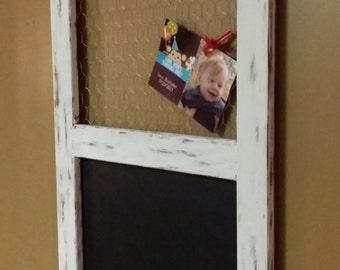 "Distressed chalkboard Chicken wire framed memo Board ,Wedding  chalkboard, message board, 30"" x 21"" Wedding cards, Kitchen Chalkboard/ memos"