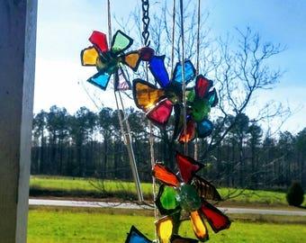 Original Antique Bedspring Glass Wind Chime Upcycled Art Bugs and Flowers
